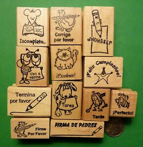 Teacher-Spanish-Only-Rubber-Stamp-Assortment-of-12-Wood-Mounted