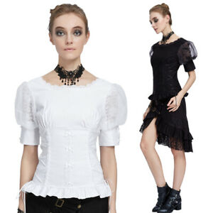 Gothic-Victorian-Steampunk-Lace-Shirt-Women-Puff-Sleeve-Side-Bandage-Top-Blouse