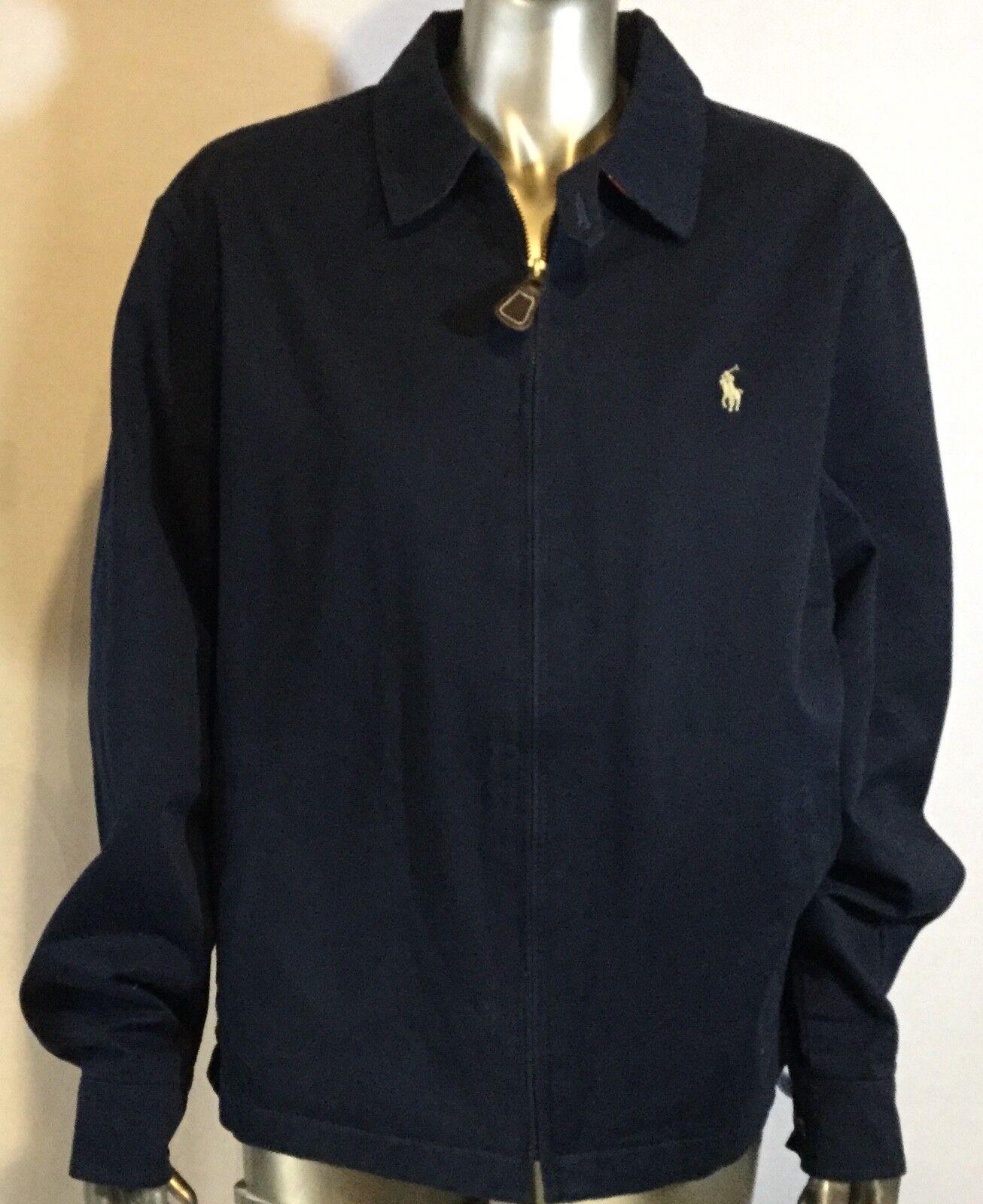 Vintage Polo Ralph Lauren Mens, Large, 100% Cotton Zip Up, navy