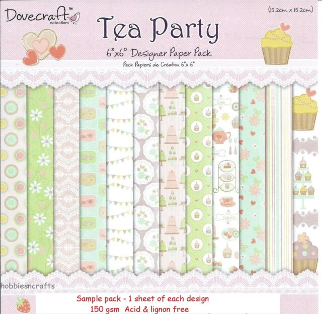 DOVECRAFT TEA PARTY PAPERS 6 X 6 SAMPLE PACK - 1 OF EACH DESIGN - 12 SHEETS
