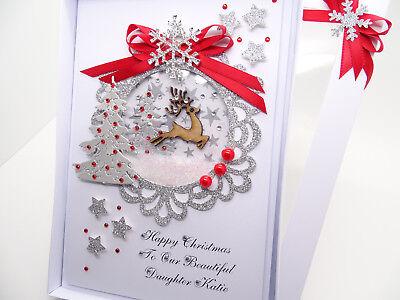 LUXURY Personalised Handmade CHRISTMAS Card MUM DAD Friend Nan Wife GIFT Box