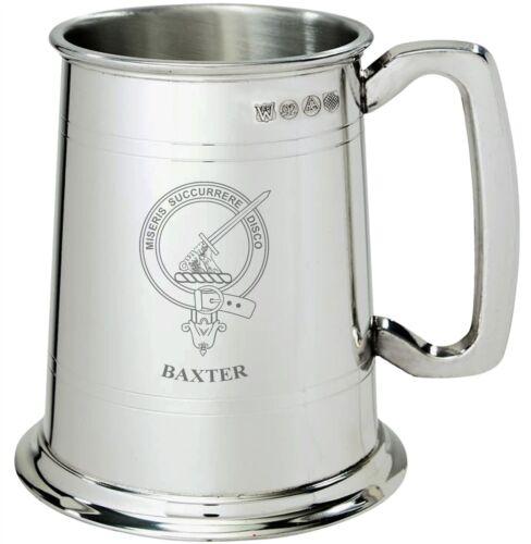 Baxter Clan Crest Tankard 1 Pint Pewter