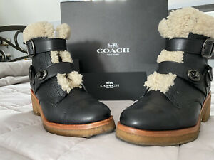 Coach-Black-Leather-Shearling-Women-Preston-Moto-Booties-Boots-Size-8-5M