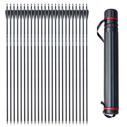 "6//12//24x 31/"" Aluminium Arrows Archery Hunting SP500 Outdoor Quiver Black Shaft"