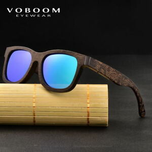 00dfac39ce6 Image is loading VOBOOM-Natural-Bamboo-Sunglasses-Polarized-Carving-Frame- Wooden-