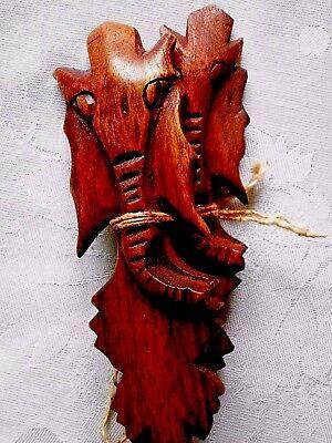 Afrikan. Salatbesteck, Aus Holz Geschnitzt, Mit Elefantenkopf, Gr.ca.25x5cm, Neu
