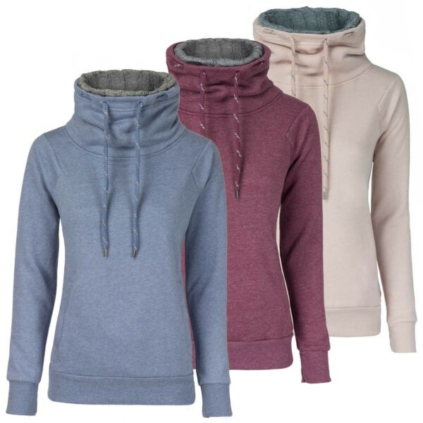50% OFF ONLY Damen Sweatshirt Pulli modische Melange-Optik Funnelneck SALE