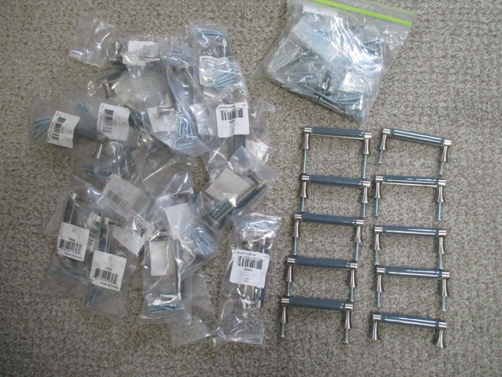32 VINTAGE BETSY FIELDS DESIGN DRAWER CABINET PULLS SMOKEY blueE CHROME