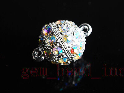 1Set Crystal Round Ball Stronger Magnet Clasp Connector Finding 10mm 5Color Pick