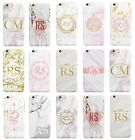 Personalised Marble Printed Glitter Effect Initials Custom Phone Case For iPhone