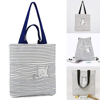 Women Tote Bag Cartoon Cat Shopping Bag Shoulder Bag Canvas Eco-Friendly Purse