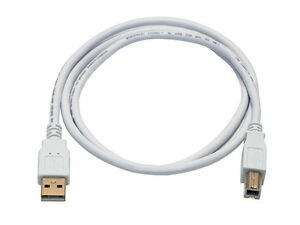 3ft USB 2.0 A Male to B Male 28/24AWG Cable - (Gold Plated) - WHITE 8615 844660086154
