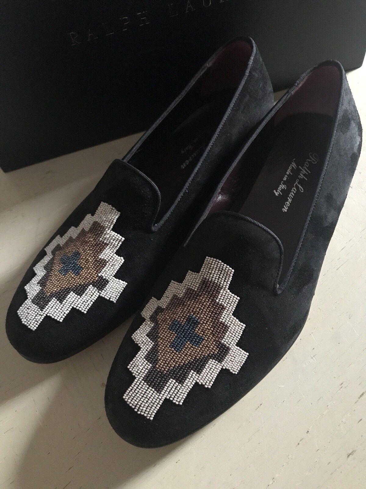 New 1150 Men's Ralph Lauren Purple Label  Suede Slippers Shoes Black 10 US