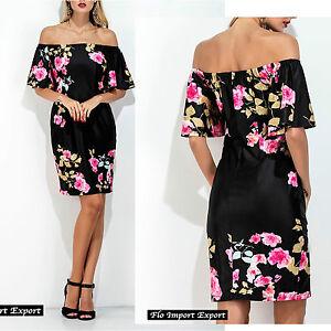 Dettagli su Vestito Donna Abito Rose Spalle Scoperte Woman Roses Dress Off Shoulders 110269