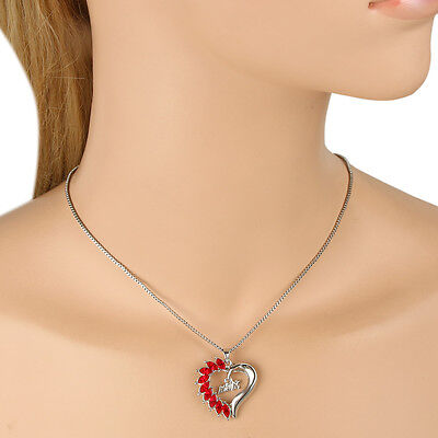 Mother's Day Heart Pendant Necklace Red Austrian Crystal Silver GP Women Gift