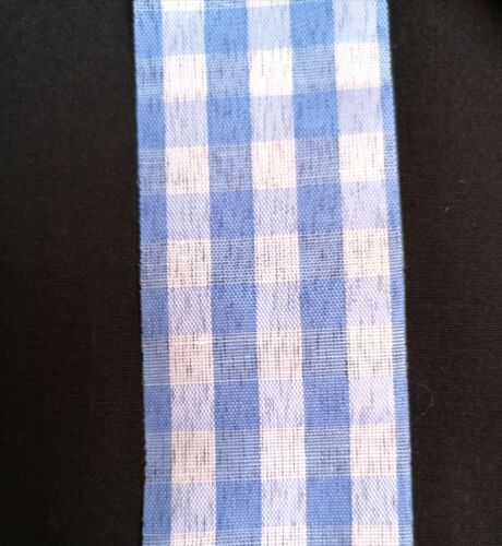 1M Light Blue Gingham Check Woven Ribbon 38mm 1//4 inch