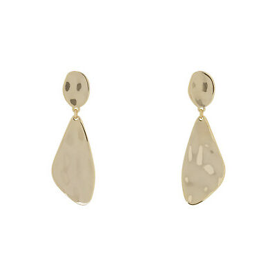 NEW Trent Nathan Beaten Geo Drop Earrings TNGEW18ER213 Gold