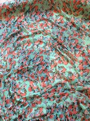 Mint Green Floral Soft  Floaty Crinkle chiffon Georgette  Print Dress Fabric