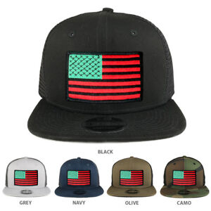Image is loading Red-Green-Black-American-Flag-Patch-Snapback-Trucker- 9106086db13