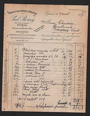 Épinal, Rechnung 1927, Paul Remy Manufacture Générale De Brosserie