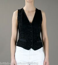 DOLCE & GABBANA Black FLORAL LACE Waistcoat BNWT IT44 UK12 EUR38 Made In Italy