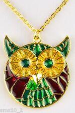 Hand Made Enamel Owl Necklace HCN210