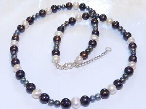 GENUINE-Natural-Cream-Tahitian-Black-Grey-Coloured-Pearls-925-Sterling-Silver