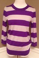 J.crew S Purple/ Light Gray Striped Crew Neck 3/4 Sleeve Wool Blend Sweater