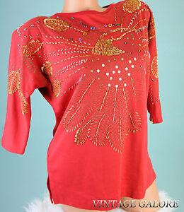 VTG-Glitters-Red-Beaded-Bird-Sequin-Cocktail-Evening-Blouse-top-shirt-Sz-L