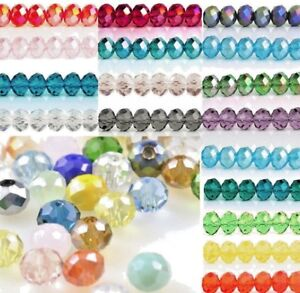 Rondelle-Round-Czech-Crystal-Glass-Faceted-Beads-2x3-3x4-4x6-6x8mm-Jewellery