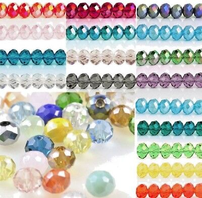 Pcs DIY Jewellery Czech Crystal Glass Faceted Rondelle Beads 4 x 6mm Rainbow 72