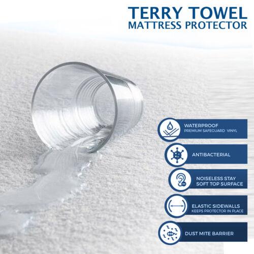 Impermeable Protector De Colchón Cubierta de Cama Todos Los Tamaños En Vinilo acolchado Terry Toalla