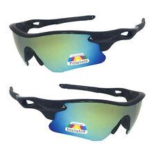 Mens POLARIZED Jade Green Mirrored Lens Cycling Fishing Sport Wrap Sunglasses