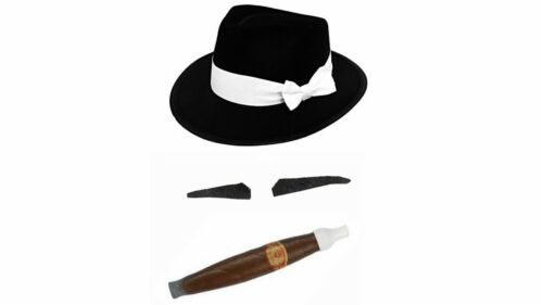 Kids Black Trilby Spiv Moustache Jumbo Cigar Mob Italian Don Bugsy Malone School