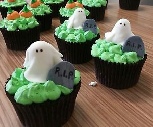 Halloween Cake Decorations Au : 12 HALLOWEEN cake/cupcake topper/ decorations GHOST TOMB ...