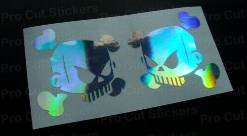 Totenschädel Ken Block Hoonigan Silber Hologramm Spiegel Neo Chrome Sticker