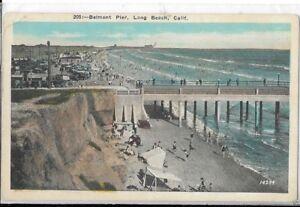 Image Is Loading Belmont Pier Long Beach California Postcard 1930s Era