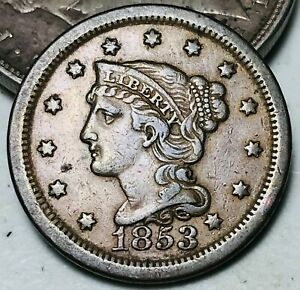 1853 Large Cent Matron Braided Hair 1C High Grade Choice US Copper Coin CC6178
