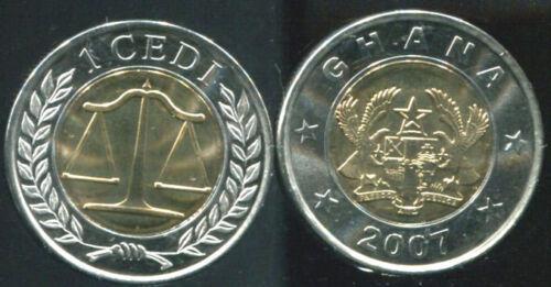 GHANA 1 DEDI 2007 BIMETALLIC UNC