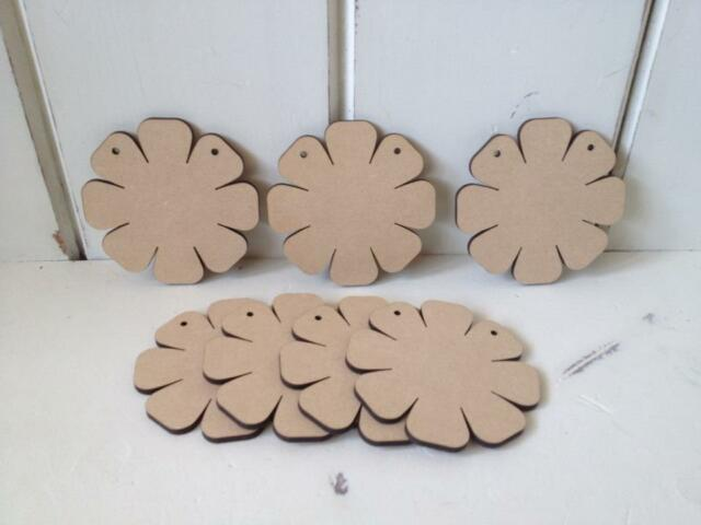 10 x FLOWERS - 10cms - Wooden Bunting - MDF- Blank Craft Shapes Blank Tags