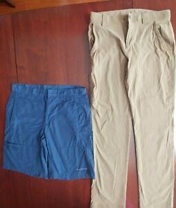 2-Piece-Mens-COLUMBIA-OMNI-SHIELD-PFG-Omni-Shade-Pants-shorts-Lot-Size-30-32