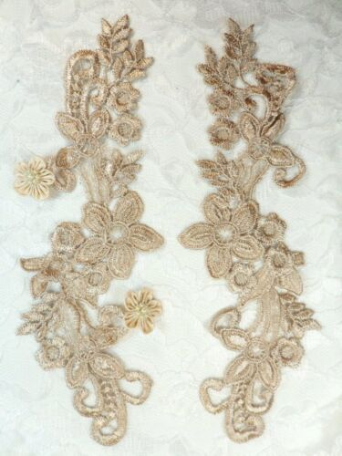 """Embroidered Lace Appliques Champagne Floral Venice Lace Mirror Pair 9.5/"""" DH86"""