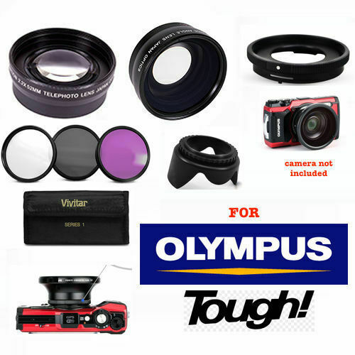 newest 870c9 17b53 FISHEYE LENS + 2.2x TELEPHOTO LENS + FILTER KIT FOR OLYMPUS TOUGH TG5 TG6  TG4