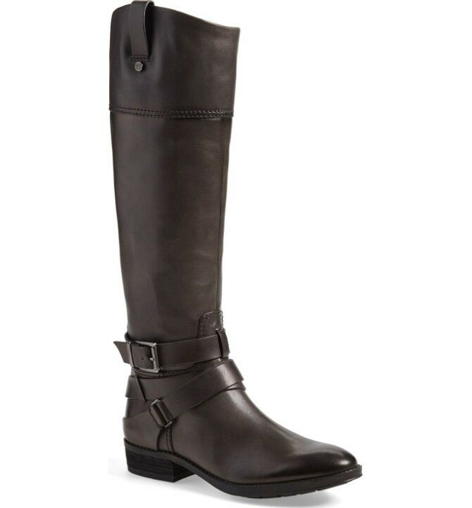Vince Camuto Pazell Tall Dark Grey Leather Riding Boots Buckle Sz 6 NEW  239