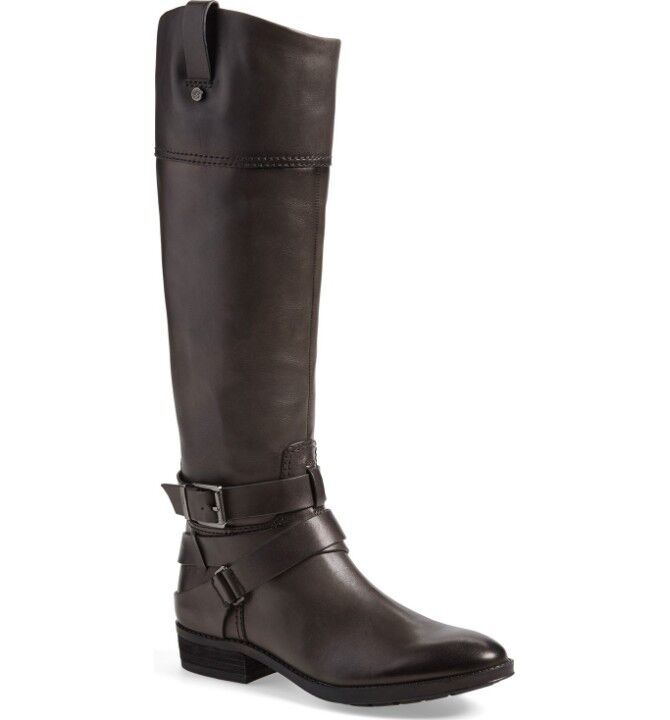 Vince Camuto Pazell Tall Dark Grey Leather Leather Leather Riding Boots Buckle Sz 6 NEW  239 44c200