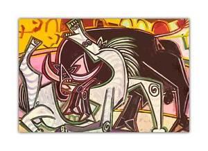 ESPAGNOL TAUREAU par PABLO PICASSO Peinture à l'huile RÉ-IMPRESSION Décoration murale Poster | eBay