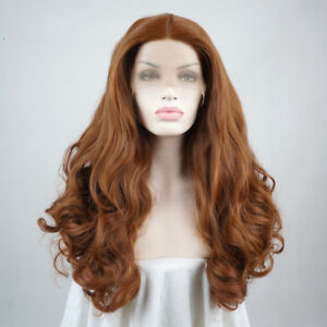 22-inches-Lace-Front-Wig-Karneval-Cosplay-Layered-Volle-Peruecke-Braun-Gelockte