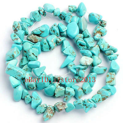 6-8mm Pretty Blue Turquoise Freeform Gravel DIY Gemstone Loose Beads Strand 16""