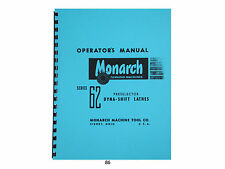 Monarch Lathe Operators Manual For Series 62 Preselector Dyna Shift Lathes 86