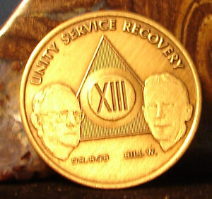 Alcoholics Anonymous AA 13 Year Bronze Medallion Coin Chip Token Sobrity Sober